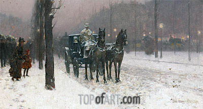 Paris, Winter Day, 1887 | Hassam | Painting Reproduction