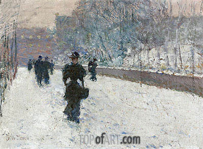 Promenade - Winter New York, 1895 | Hassam | Painting Reproduction