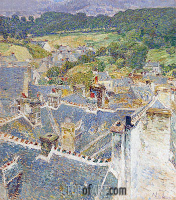 Rooftops, Pont-Aven, Brittany, 1897 | Hassam | Painting Reproduction