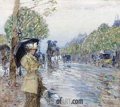 Rainy Day on the Avenue, 1893 | Hassam | Painting Reproduction