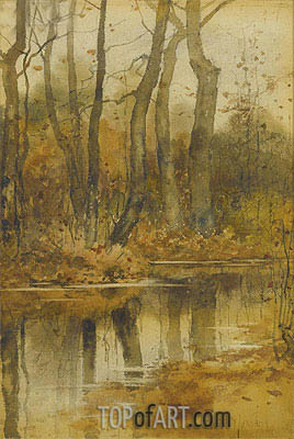 Stream in the Woods, undated | Hassam | Painting Reproduction