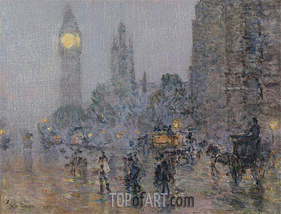 Nocturne - Big Ben, 1898 | Hassam | Painting Reproduction