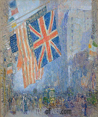 The Union Jack, New York, April Morning, 1918 | Hassam | Painting Reproduction