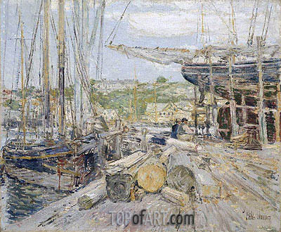 Docks, Gloucester, 1895 | Hassam | Painting Reproduction