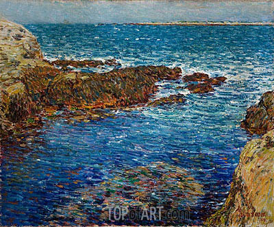 Entrance to the Siren's Grotto, Isle of Shoals, 1902 | Hassam | Painting Reproduction