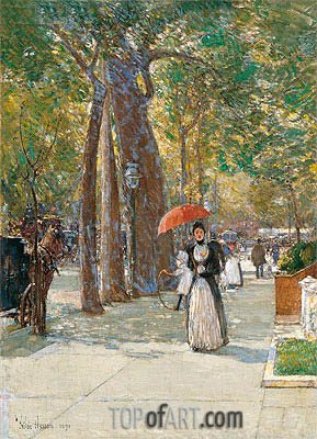 Fifth Avenue at Washington Square, New York, 1891 | Hassam | Painting Reproduction