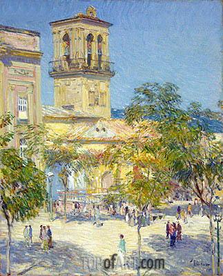 Street of the Great Captain, Cordoba, 1910 | Hassam | Gemälde Reproduktion