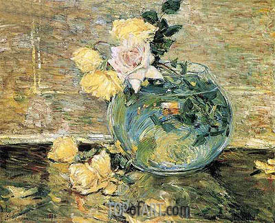 Roses in a Vase, 1890 | Hassam | Painting Reproduction