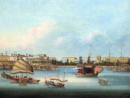 The Hongs at Canton, c.1855 by Chinese School | Painting Reproduction