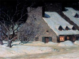 Street Scene, Quebec at Night, c.1917 by Clarence Gagnon | Painting Reproduction
