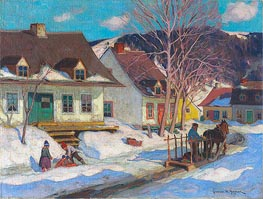 A Québec Village Street, Winter, 1920 by Clarence Gagnon | Painting Reproduction