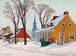 Winter Morning in Baie-Saint-Paul, c.1926/34 by Clarence Gagnon | Painting Reproduction