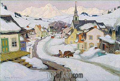 Village in the Laurentian Mountains, 1925 | Clarence Gagnon | Painting Reproduction