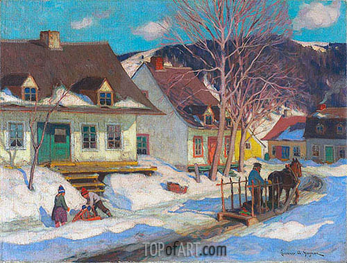 A Québec Village Street, Winter, 1920 | Clarence Gagnon | Painting Reproduction