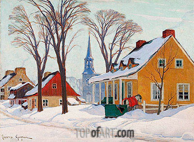 Winter Morning in Baie-Saint-Paul, c.1926/34 | Clarence Gagnon | Gemälde Reproduktion