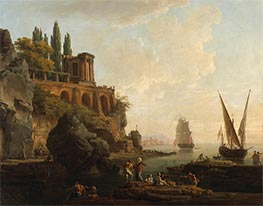 Imaginary Landscape, Italian Harbor Scene, 1746 by Claude-Joseph Vernet | Painting Reproduction