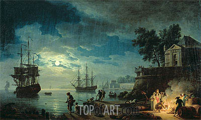 Night: A Port in the Moonlight, 1771 | Claude-Joseph Vernet | Painting Reproduction
