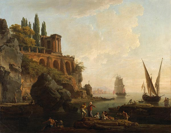 Imaginary Landscape, Italian Harbor Scene, 1746 | Claude-Joseph Vernet | Painting Reproduction