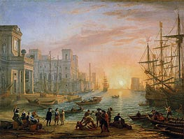 Sea Port at Sunset | Claude Lorrain | Painting Reproduction