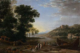 Landscape with Merchants, c.1630 by Claude Lorrain | Painting Reproduction
