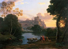 View of Tivoli at Sunset, 1644 by Claude Lorrain | Painting Reproduction