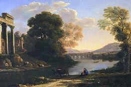 Landscape with Cowherd (Evening), undated by Claude Lorrain | Painting Reproduction