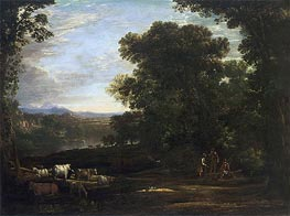 Landscape with Cattle and Peasants, 1629 by Claude Lorrain | Painting Reproduction