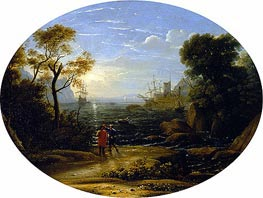 Seascape - Setting Sun, c.1630/35 by Claude Lorrain | Painting Reproduction