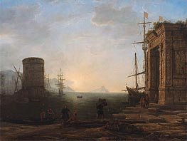 Harbor View at Sunrise, c.1637/38 by Claude Lorrain | Painting Reproduction