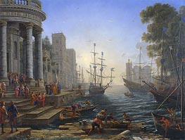 Seaport with the Embarkation of Saint Ursula | Claude Lorrain | Gemälde Reproduktion