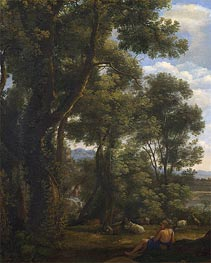 Landscape with a Goatherd and Goats, c.1636/37 by Claude Lorrain | Painting Reproduction