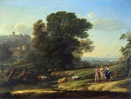 Landscape with Cephalus and Procris Reunited by Diana, 1645 by Claude Lorrain | Painting Reproduction