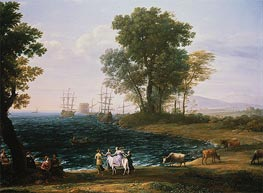 Coast Scene with the Rape of Europa, 1667 by Claude Lorrain | Painting Reproduction
