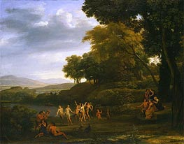 Landscape with Dancing Satyrs and Nymphs, 1646 by Claude Lorrain | Painting Reproduction