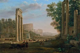 Capriccio with Ruins of the Roman Forum, c.1634 by Claude Lorrain | Painting Reproduction
