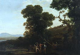 Landscape with Figures Wading Through a Stream, c.1636/37 by Claude Lorrain | Painting Reproduction