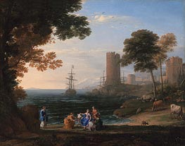 Coast View with the Abduction of Europa, 1645 by Claude Lorrain | Painting Reproduction