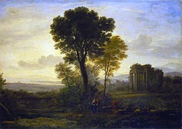 Landscape with Jacob, Rachel and Leah at the Well, 1666 by Claude Lorrain | Painting Reproduction