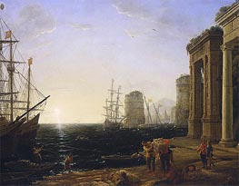 Harbour Scene at Sunset | Claude Lorrain | Painting Reproduction