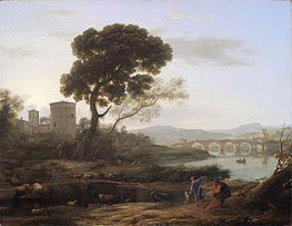 Landscape near Rome with a View of the Ponte Molle | Claude Lorrain | Painting Reproduction