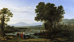 A River Landscape with Jacob and Laban and his Daughters | Claude Lorrain | Painting Reproduction