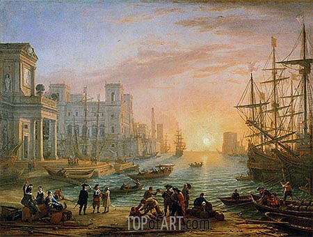 Sea Port at Sunset, 1639 | Claude Lorrain | Gemälde Reproduktion