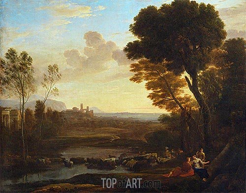Landscape with Paris and Oenone (The Ford), 1648 | Claude Lorrain | Gemälde Reproduktion