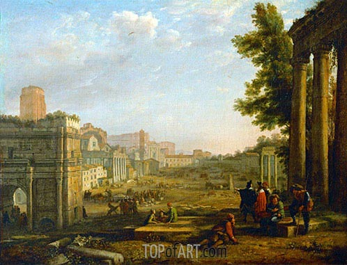 View of the Campo Vacino, 1636 | Claude Lorrain | Gemälde Reproduktion