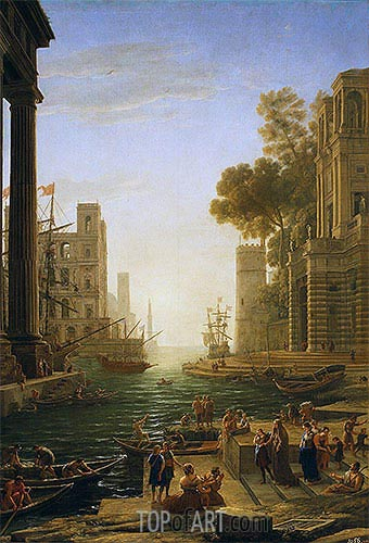 Landscape with the Embarkment of Saint Paula Romana in Ostia, c.1639/40 | Claude Lorrain | Gemälde Reproduktion