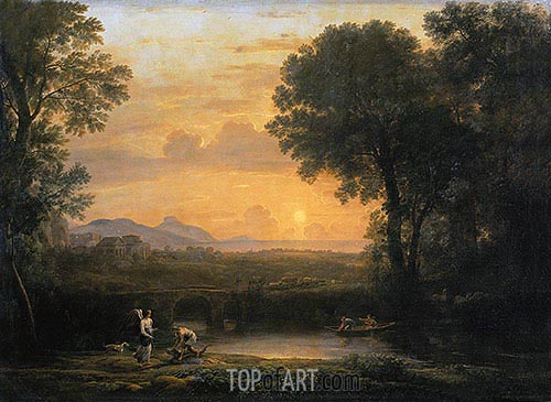 Landscape with Tobias and the Angel, 1663 | Claude Lorrain | Gemälde Reproduktion