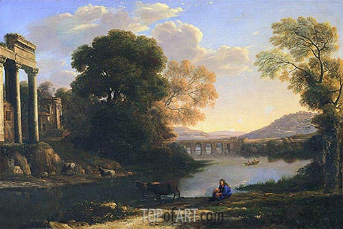 Landscape with Cowherd (Evening), undated | Claude Lorrain | Gemälde Reproduktion