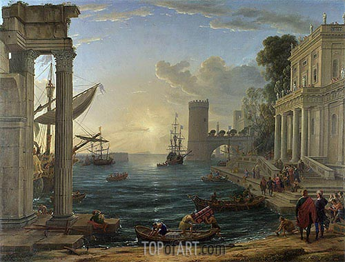 Seaport with the Embarkation of the Queen of Sheba, 1648 | Claude Lorrain | Gemälde Reproduktion
