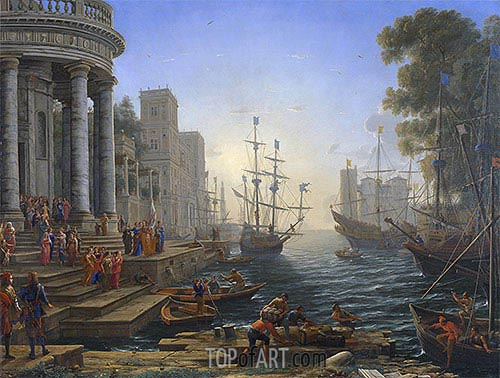 Seaport with the Embarkation of Saint Ursula, 1641 | Claude Lorrain | Painting Reproduction