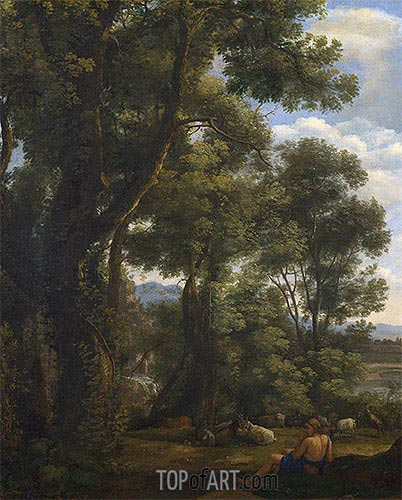 Landscape with a Goatherd and Goats, c.1636/37 | Claude Lorrain | Painting Reproduction